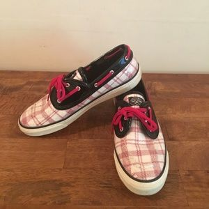 Red and White Shimmer Sperry Topsider Shoes